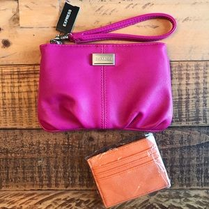 NWT EXPRESS Hot Pink Wristlet with Orange Wallet